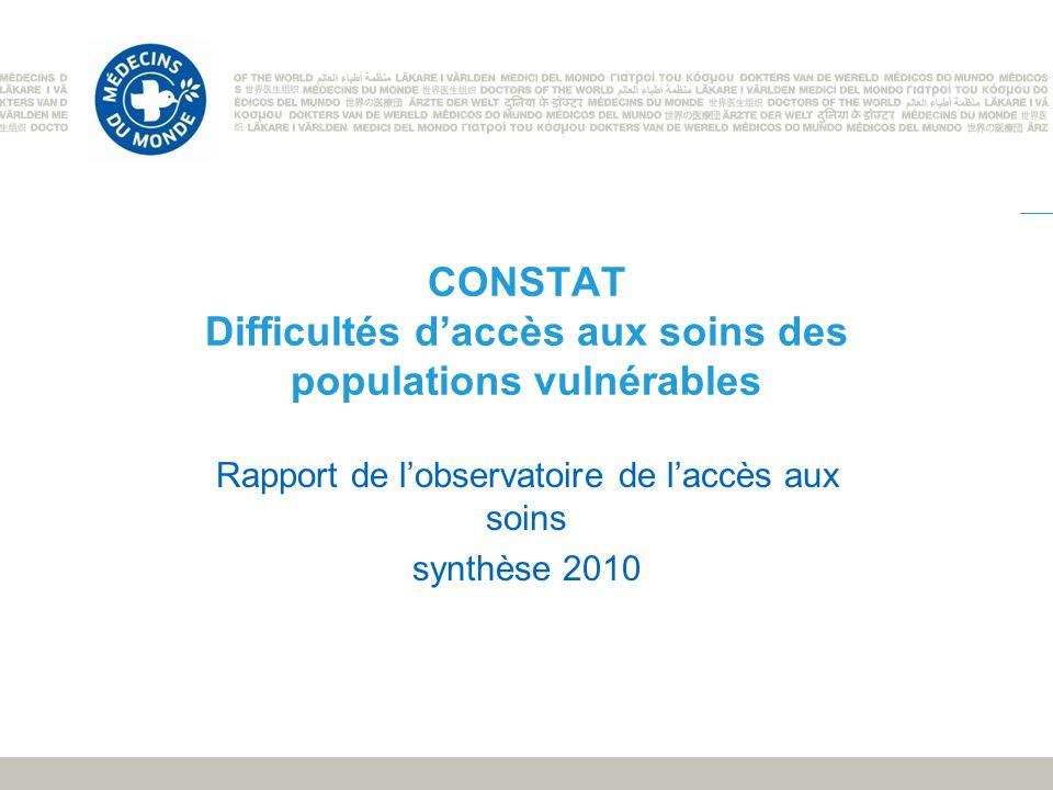 CONSTAT Difficultés daccès aux soins des populations vulnérables Rapport de lobservatoire de laccès aux soins synthèse 2010