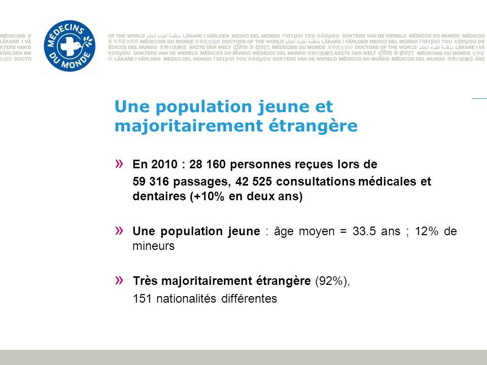 Une population jeune et majoritairement étrangère » En 2010 : 28 160 personnes reçues lors de 59 316 passages, 42 525 consultations médicales et denta