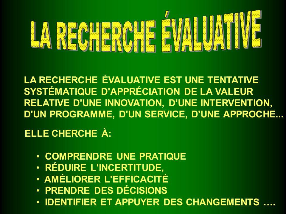 LA RECHERCHE ÉVALUATIVE EST UNE TENTATIVE SYSTÉMATIQUE D APPRÉCIATION DE LA VALEUR RELATIVE D UNE INNOVATION, D UNE INTERVENTION, D UN PROGRAMME, D UN SERVICE, D UNE APPROCHE...