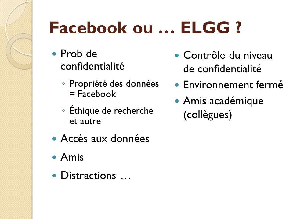 Facebook ou … ELGG .