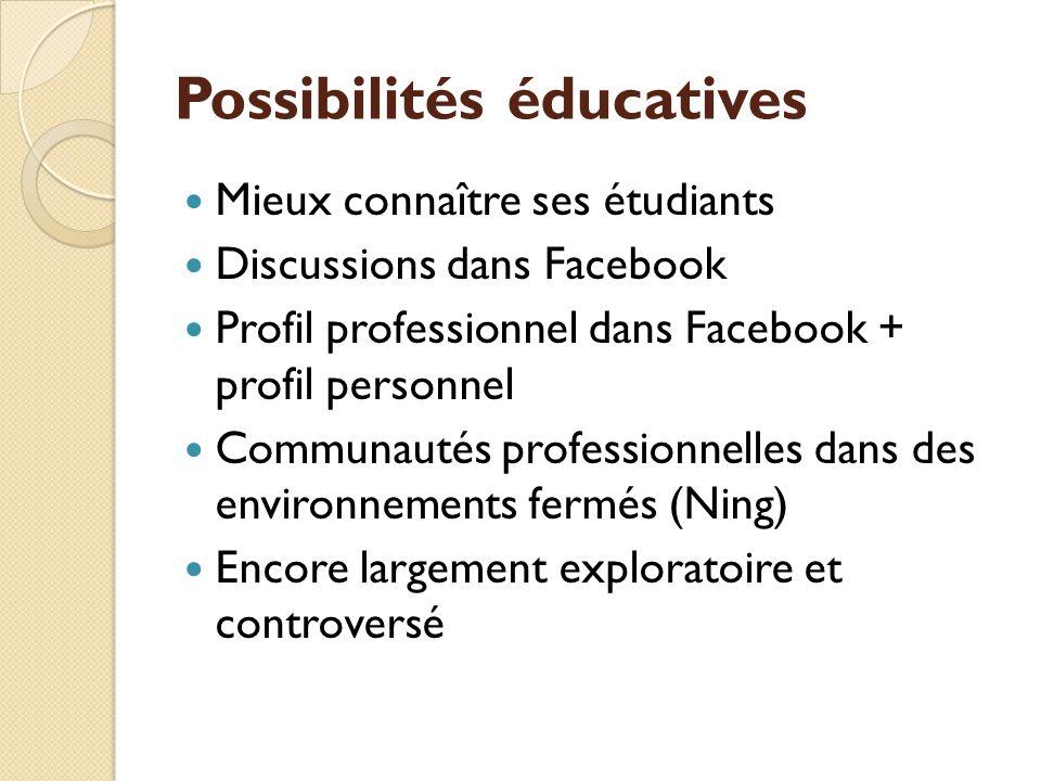 Possibilités éducatives Mieux connaître ses étudiants Discussions dans Facebook Profil professionnel dans Facebook + profil personnel Communautés professionnelles dans des environnements fermés (Ning) Encore largement exploratoire et controversé