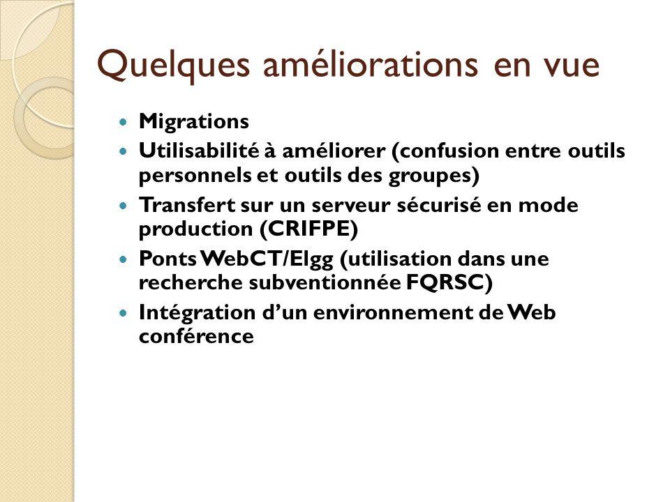 Quelques améliorations en vue Migrations Utilisabilité à améliorer (confusion entre outils personnels et outils des groupes) Transfert sur un serveur sécurisé en mode production (CRIFPE) Ponts WebCT/Elgg (utilisation dans une recherche subventionnée FQRSC) Intégration dun environnement de Web conférence