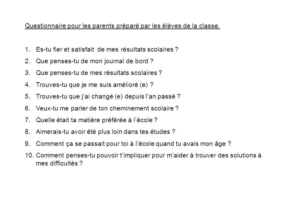 Questionnaire pour les parents préparé par les élèves de la classe. 1.Es-tu fier et satisfait de mes résultats scolaires ? 2.Que penses-tu de mon jour