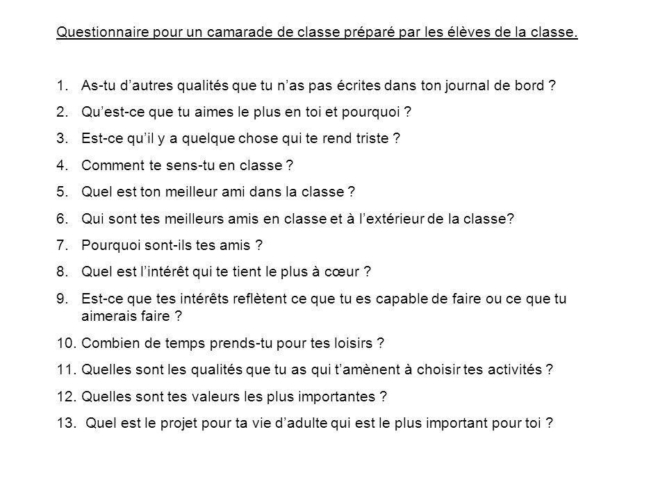 Questionnaire pour un camarade de classe préparé par les élèves de la classe. 1.As-tu dautres qualités que tu nas pas écrites dans ton journal de bord