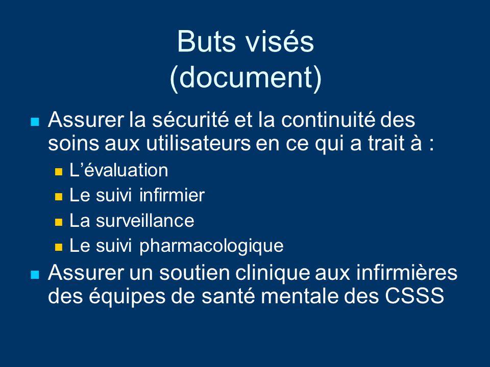 Buts visés (document) Assurer la sécurité et la continuité des soins aux utilisateurs en ce qui a trait à : Lévaluation Le suivi infirmier La surveill