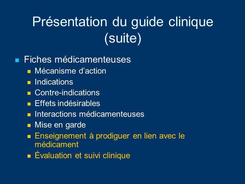 Présentation du guide clinique (suite) Fiches médicamenteuses Mécanisme daction Indications Contre-indications Effets indésirables Interactions médica