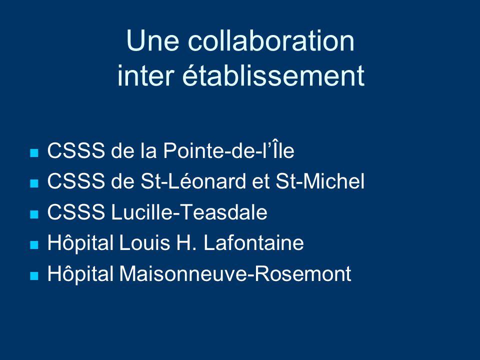 Une collaboration inter établissement CSSS de la Pointe-de-lÎle CSSS de St-Léonard et St-Michel CSSS Lucille-Teasdale Hôpital Louis H. Lafontaine Hôpi