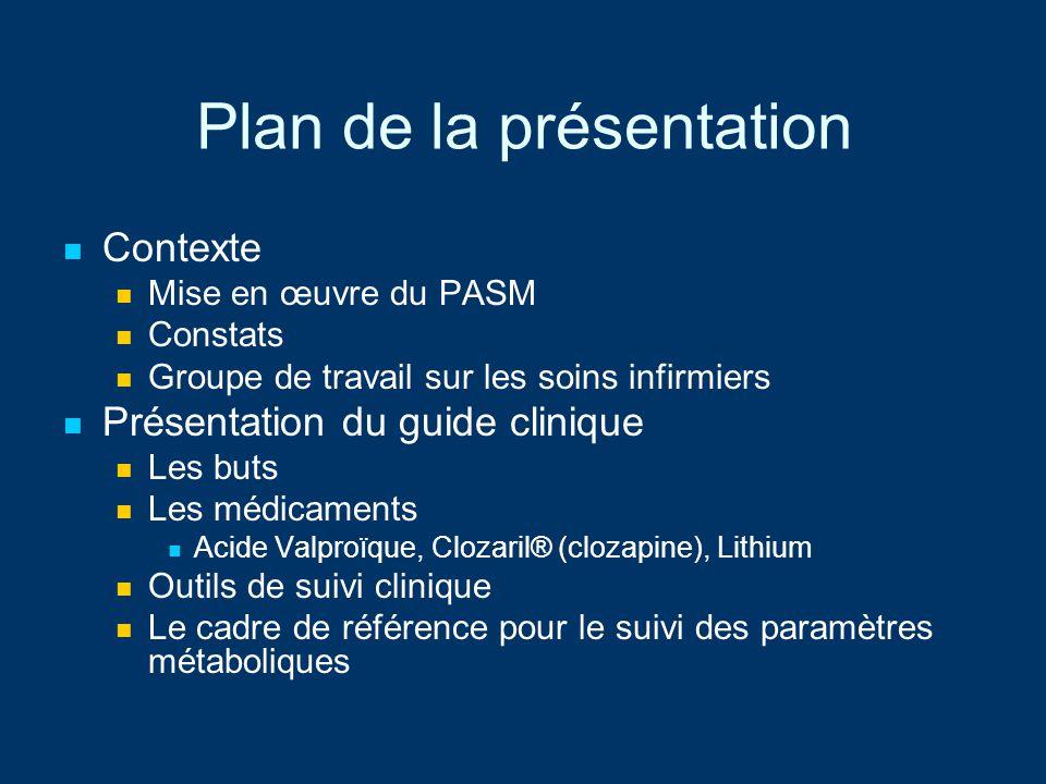 Plan de la présentation Contexte Mise en œuvre du PASM Constats Groupe de travail sur les soins infirmiers Présentation du guide clinique Les buts Les
