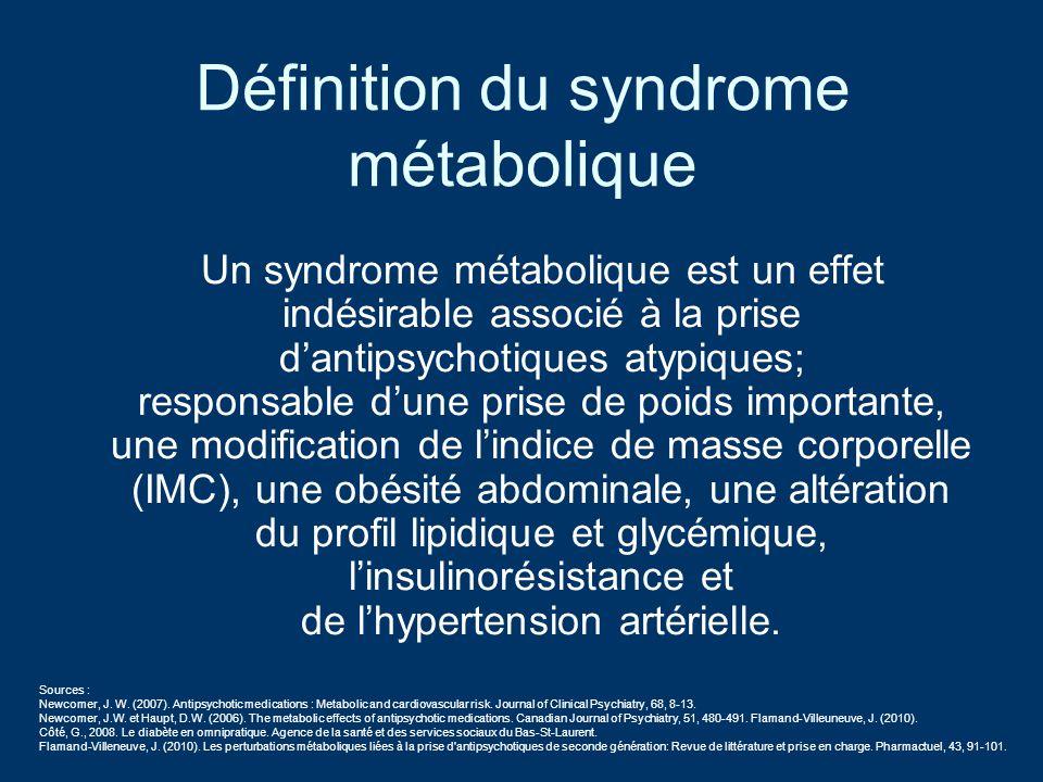 Définition du syndrome métabolique Un syndrome métabolique est un effet indésirable associé à la prise dantipsychotiques atypiques; responsable dune p