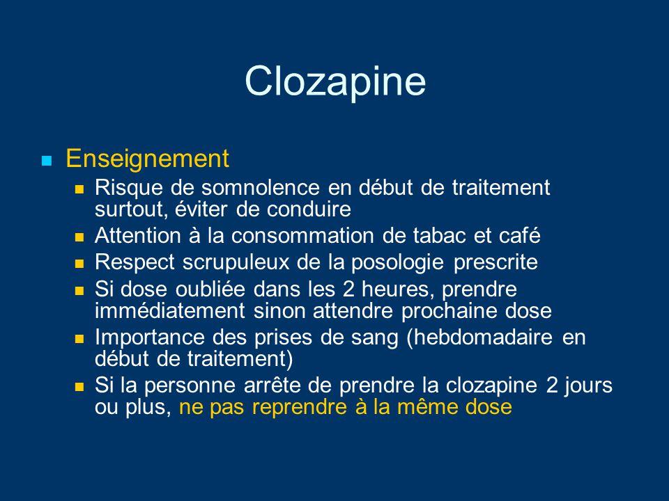 Clozapine Enseignement Risque de somnolence en début de traitement surtout, éviter de conduire Attention à la consommation de tabac et café Respect sc