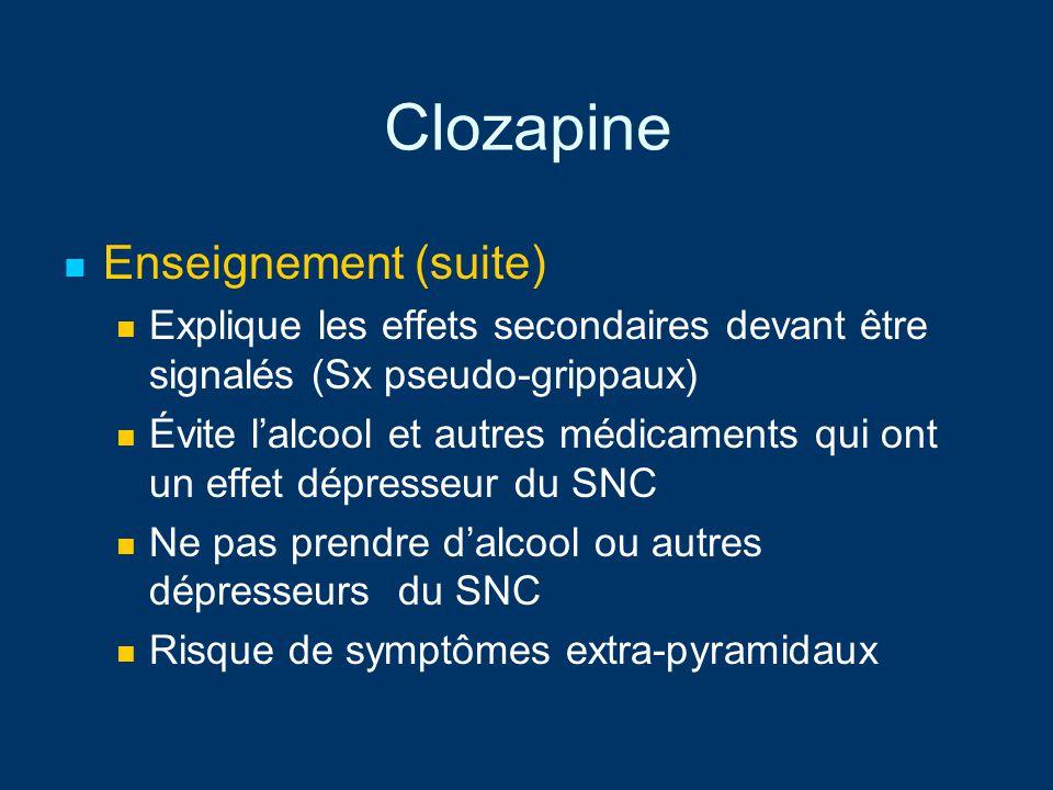 Clozapine Enseignement (suite) Explique les effets secondaires devant être signalés (Sx pseudo-grippaux) Évite lalcool et autres médicaments qui ont u
