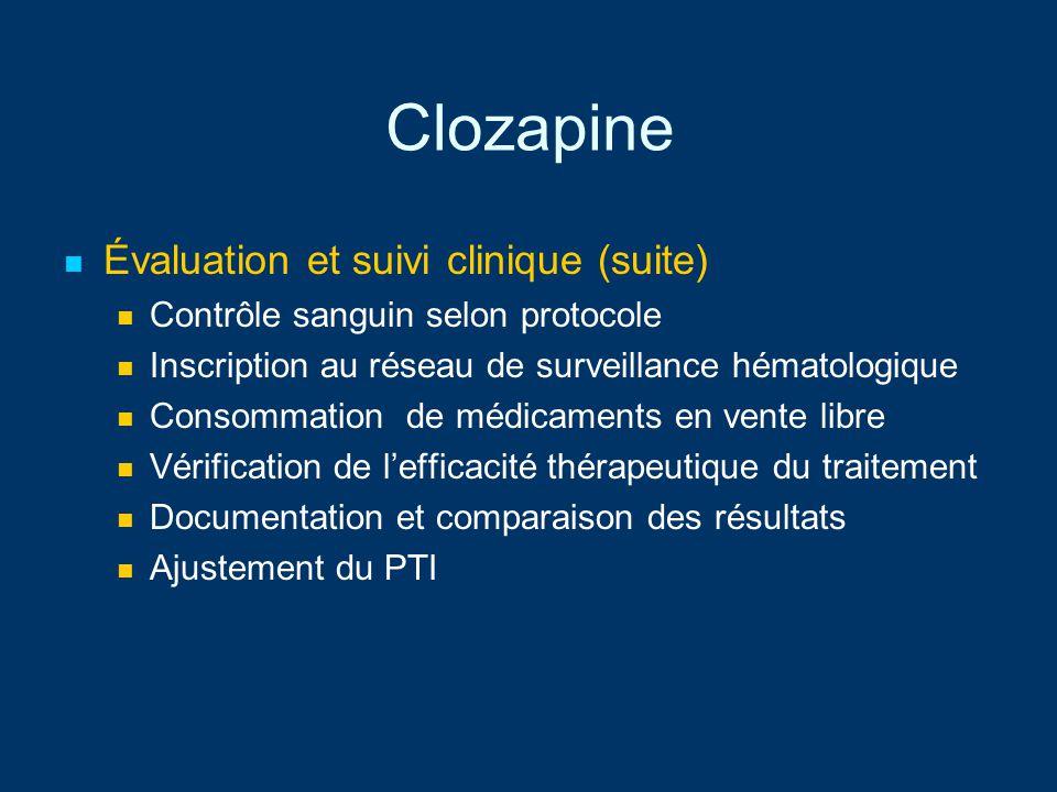 Clozapine Évaluation et suivi clinique (suite) Contrôle sanguin selon protocole Inscription au réseau de surveillance hématologique Consommation de mé
