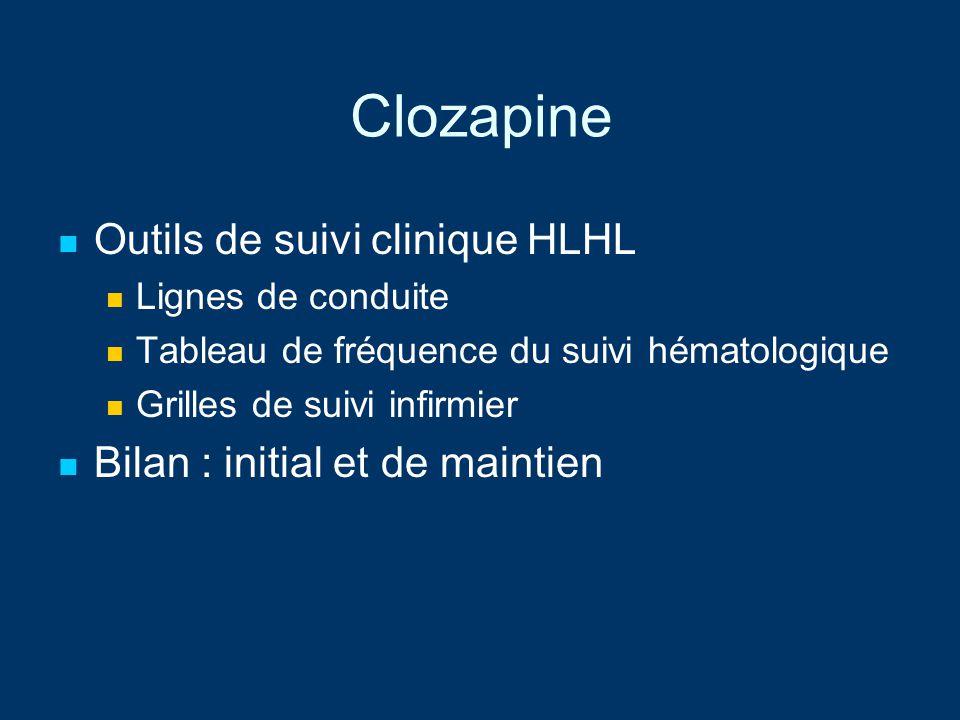 Clozapine Outils de suivi clinique HLHL Lignes de conduite Tableau de fréquence du suivi hématologique Grilles de suivi infirmier Bilan : initial et d