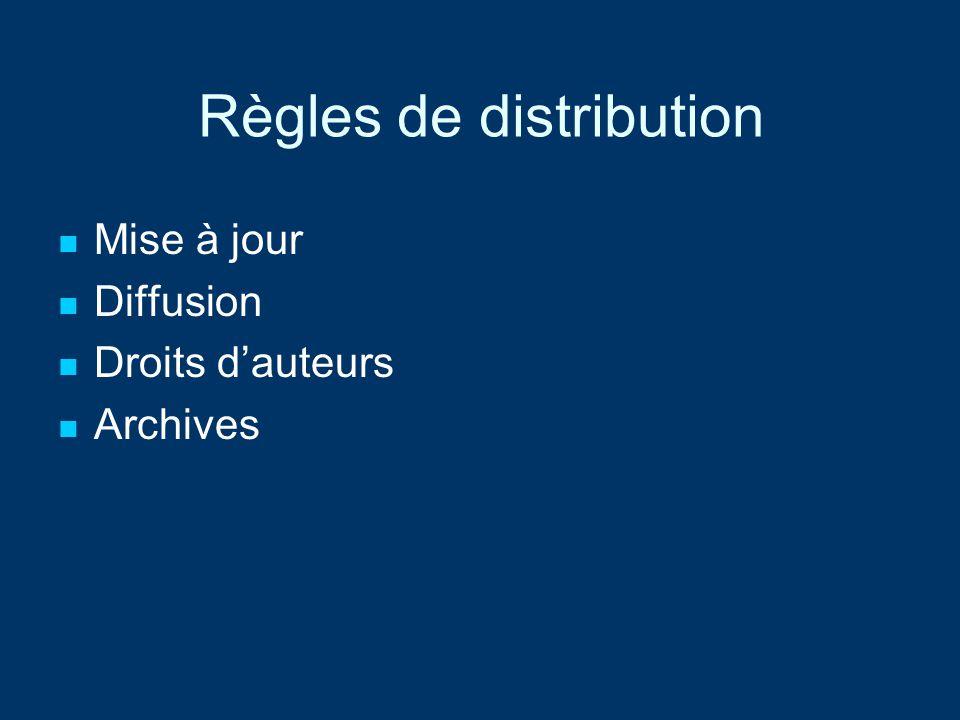 Règles de distribution Mise à jour Diffusion Droits dauteurs Archives