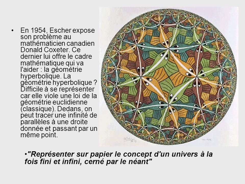 En 1954, Escher expose son problème au mathématicien canadien Donald Coxeter.