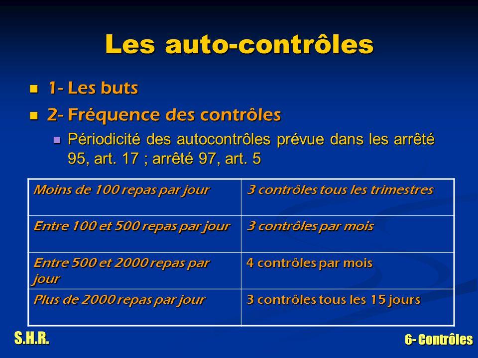 S.H.R. 6- Contrôles Les auto-contrôles 1- Les buts 1- Les buts 2- Fréquence des contrôles 2- Fréquence des contrôles Périodicité des autocontrôles pré