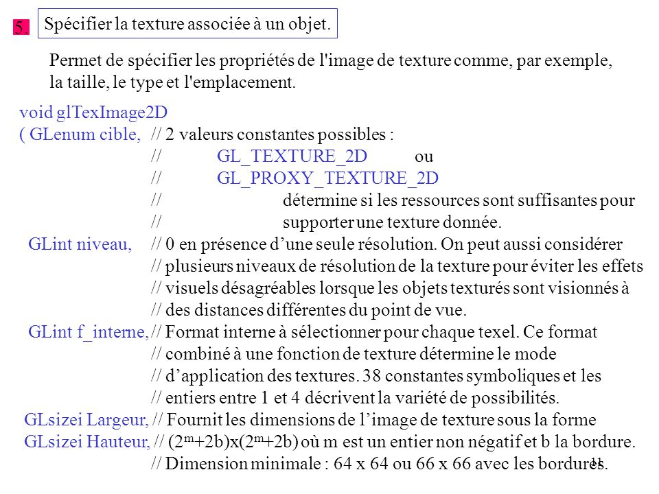11 5.Spécifier la texture associée à un objet.