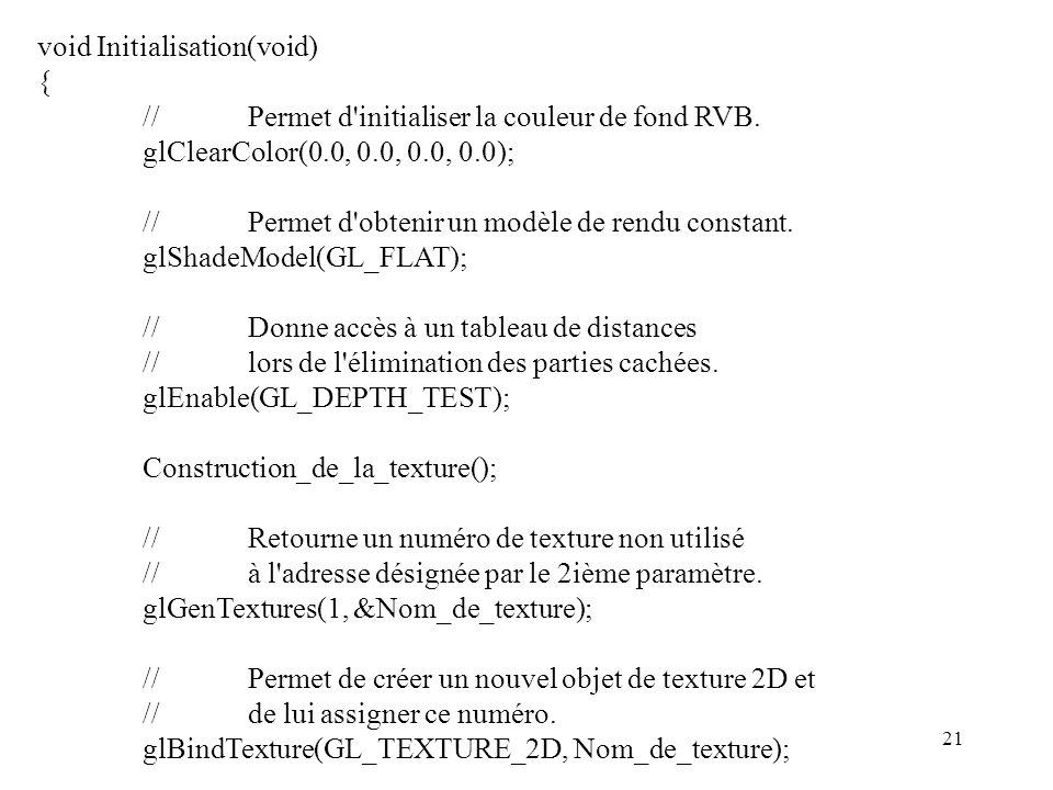 21 void Initialisation(void) { //Permet d initialiser la couleur de fond RVB.