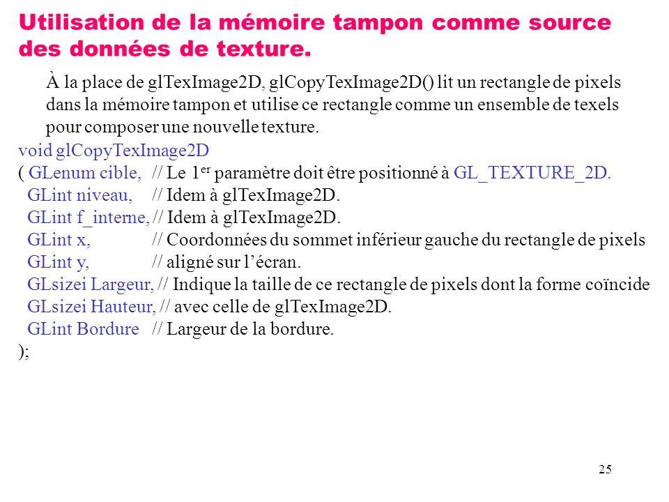 25 Utilisation de la mémoire tampon comme source des données de texture.