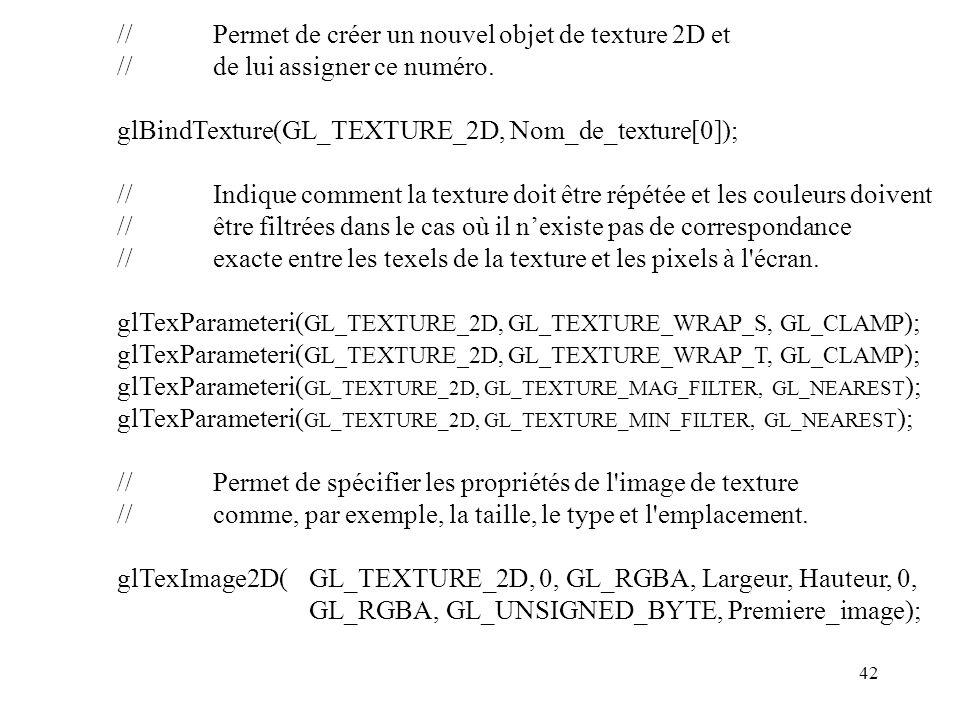 42 //Permet de créer un nouvel objet de texture 2D et //de lui assigner ce numéro.