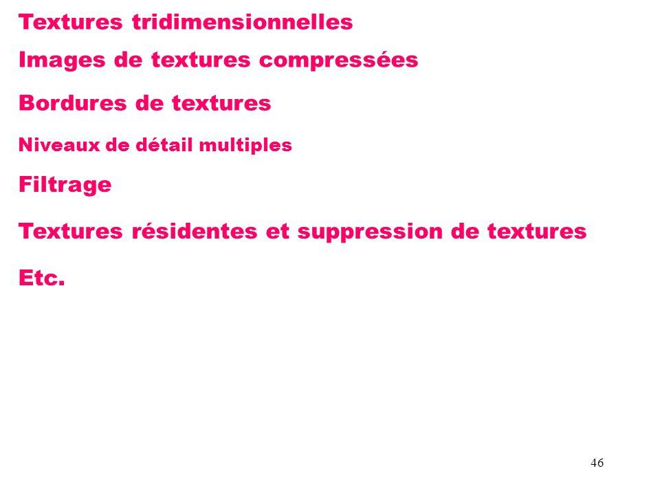 46 Textures tridimensionnelles Images de textures compressées Bordures de textures Niveaux de détail multiples Filtrage Textures résidentes et suppression de textures Etc.