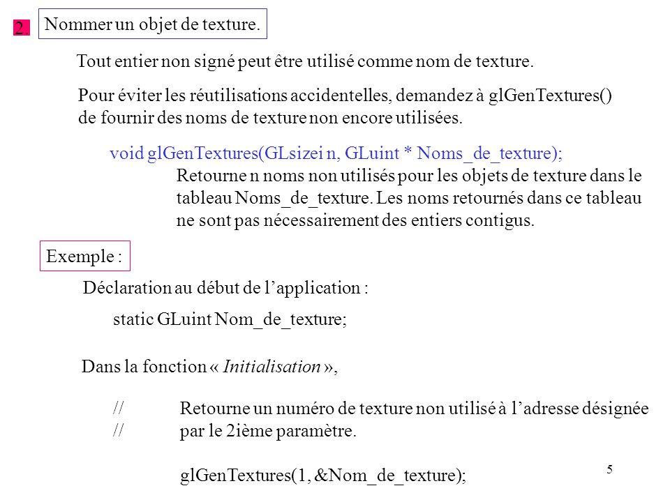 36 void affichage( void ) { glClear(GL_COLOR_BUFFER_BIT | GL_DEPTH_BUFFER_BIT); //Permet d activer le mode d application de texture 2D.