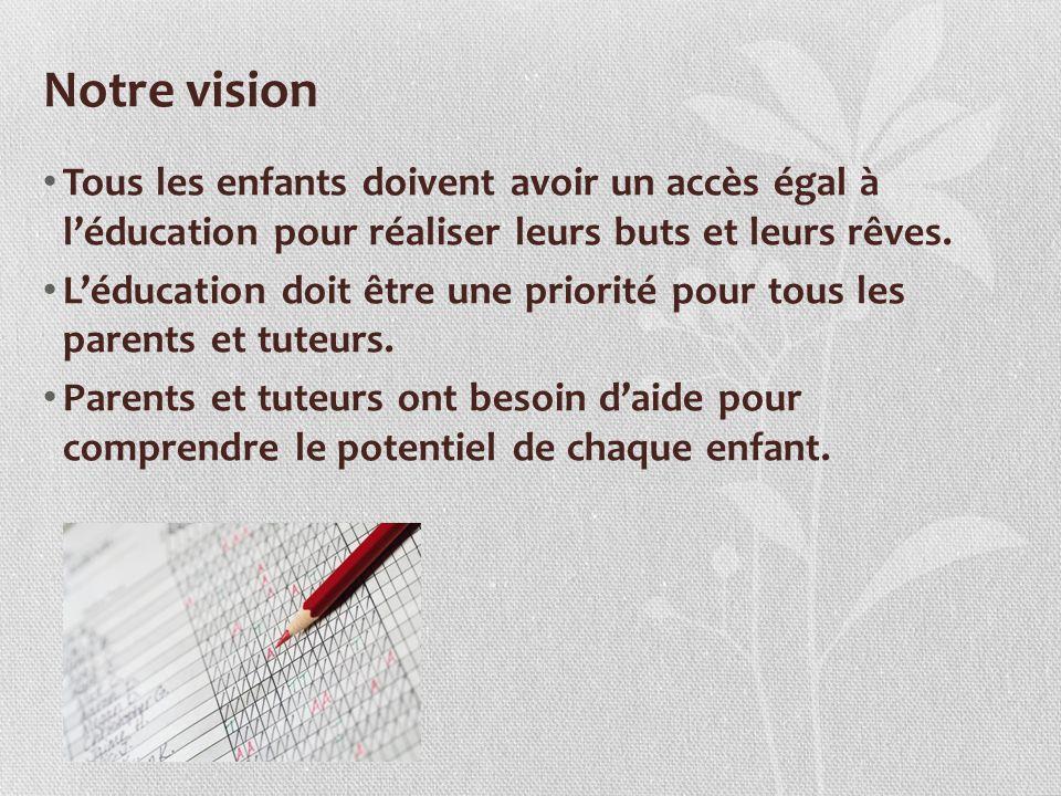 Notre vision Tous les enfants doivent avoir un accès égal à léducation pour réaliser leurs buts et leurs rêves. Léducation doit être une priorité pour