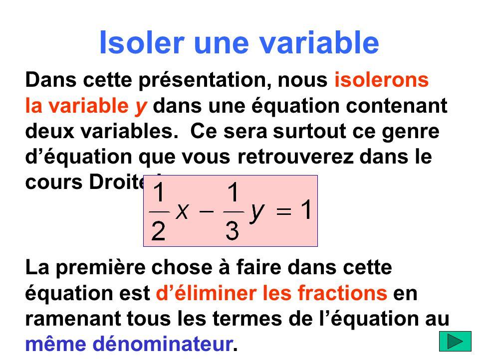 Isoler une variable Dans cette présentation, nous isolerons la variable y dans une équation contenant deux variables.