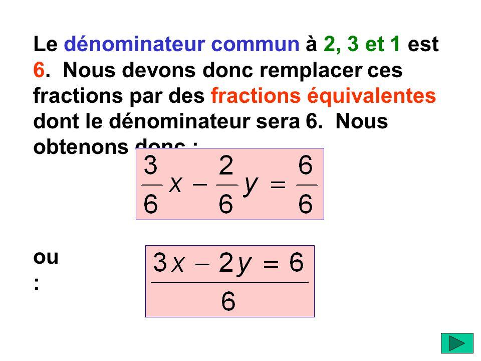 Le dénominateur commun à 2, 3 et 1 est 6.