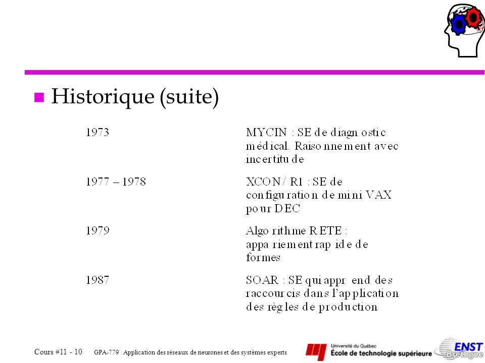 GPA-779 Application des réseaux de neurones et des systèmes experts Cours #11 - 10 n Historique (suite)