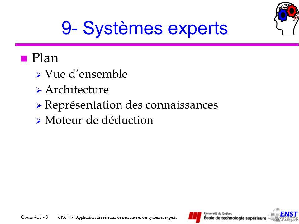 GPA-779 Application des réseaux de neurones et des systèmes experts Cours #11 - 3 9- Systèmes experts n Plan Vue densemble Architecture Représentation