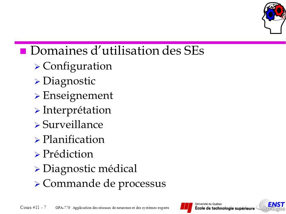 GPA-779 Application des réseaux de neurones et des systèmes experts Cours #11 - 7 n Domaines dutilisation des SEs Configuration Diagnostic Enseignemen