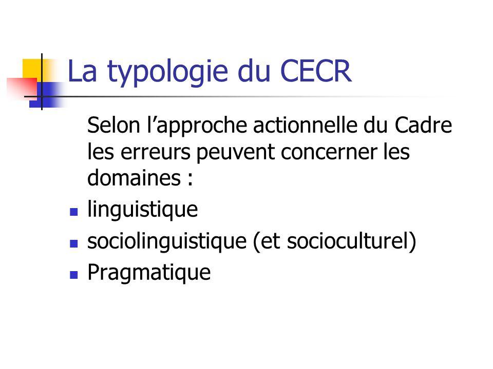 La typologie du CECR Selon lapproche actionnelle du Cadre les erreurs peuvent concerner les domaines : linguistique sociolinguistique (et socioculture