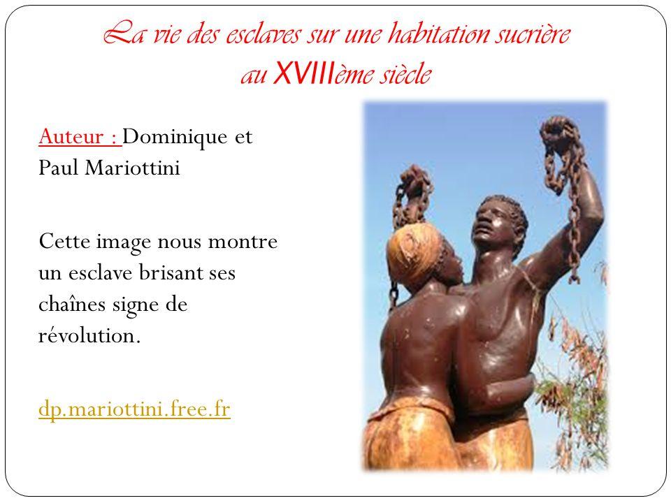 La vie des esclaves sur une habitation sucrière au XVIII ème siècle Auteur : Dominique et Paul Mariottini Cette image nous montre un esclave brisant ses chaînes signe de révolution.