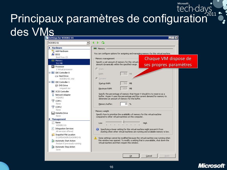 16 Principaux paramètres de configuration des VMs