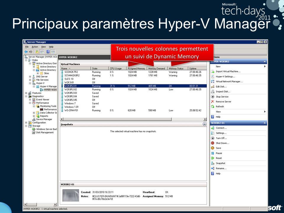 18 Principaux paramètres Hyper-V Manager