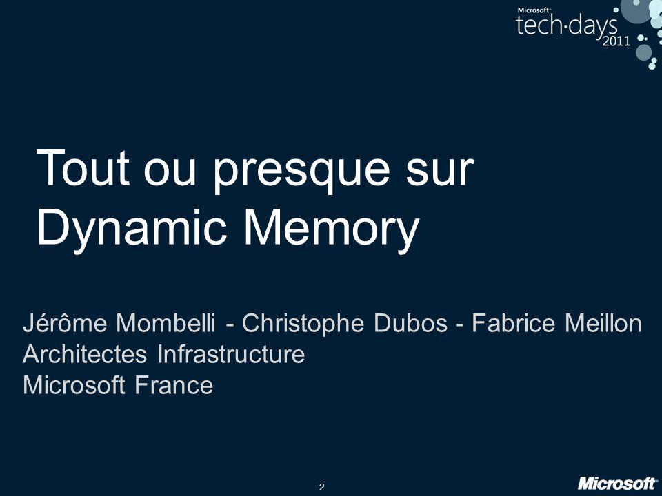 2 Tout ou presque sur Dynamic Memory Jérôme Mombelli - Christophe Dubos - Fabrice Meillon Architectes Infrastructure Microsoft France