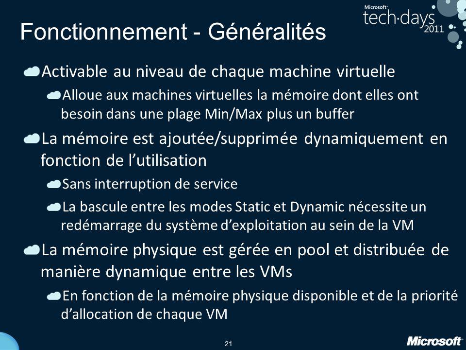 21 Fonctionnement - Généralités Activable au niveau de chaque machine virtuelle Alloue aux machines virtuelles la mémoire dont elles ont besoin dans u