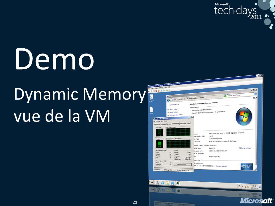 23 Demo Dynamic Memory vue de la VM
