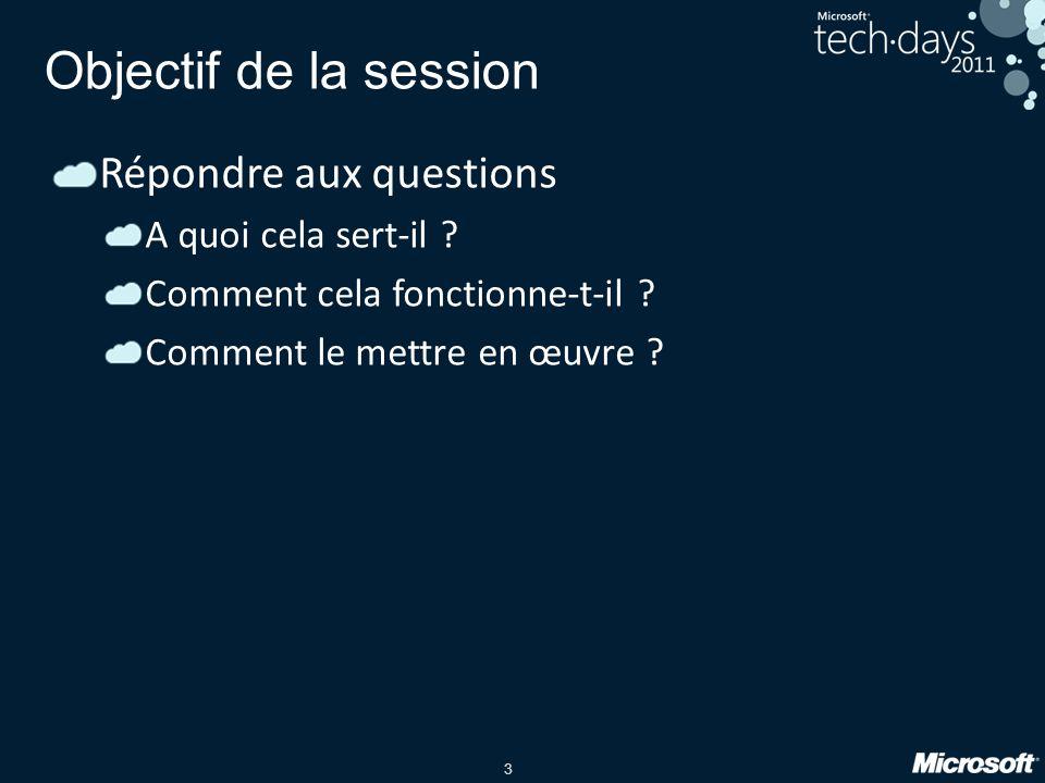 3 Objectif de la session Répondre aux questions A quoi cela sert-il ? Comment cela fonctionne-t-il ? Comment le mettre en œuvre ?