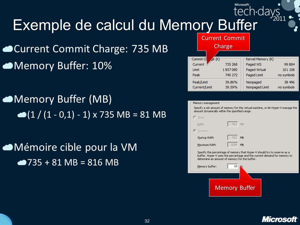 32 Exemple de calcul du Memory Buffer Current Commit Charge: 735 MB Memory Buffer: 10% Memory Buffer (MB) (1 / (1 - 0,1) - 1) x 735 MB = 81 MB Mémoire