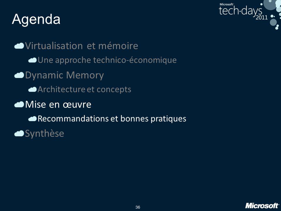36 Agenda Virtualisation et mémoire Une approche technico-économique Dynamic Memory Architecture et concepts Mise en œuvre Recommandations et bonnes p