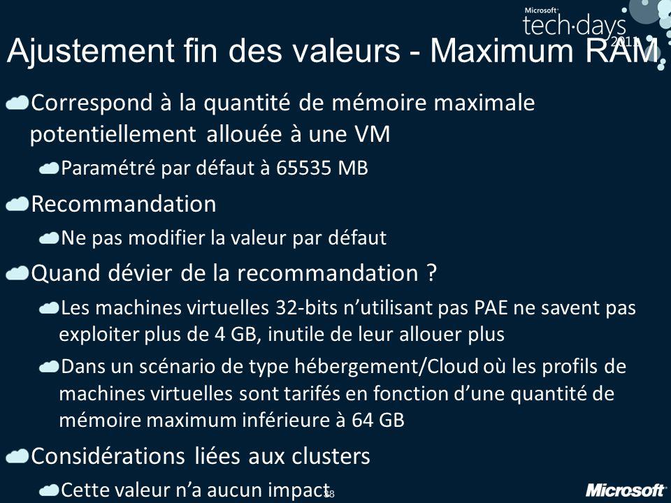 38 Ajustement fin des valeurs - Maximum RAM Correspond à la quantité de mémoire maximale potentiellement allouée à une VM Paramétré par défaut à 65535