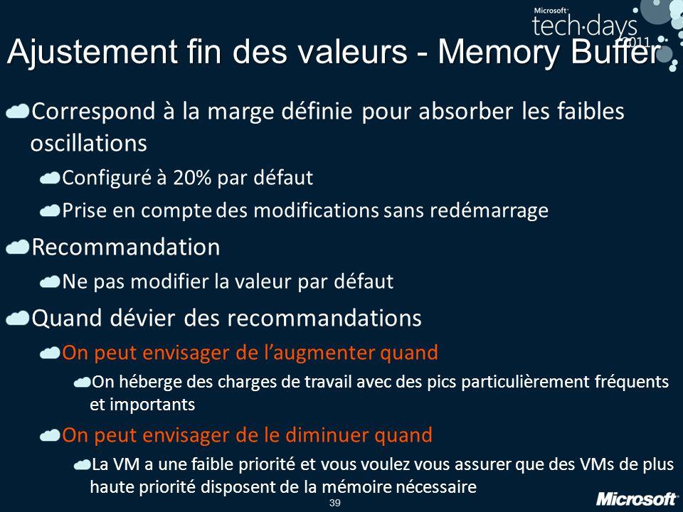 39 Ajustement fin des valeurs - Memory Buffer Correspond à la marge définie pour absorber les faibles oscillations Configuré à 20% par défaut Prise en