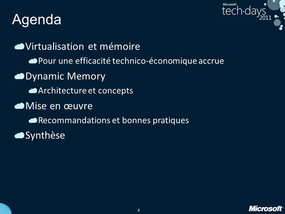 4 Agenda Virtualisation et mémoire Pour une efficacité technico-économique accrue Dynamic Memory Architecture et concepts Mise en œuvre Recommandation
