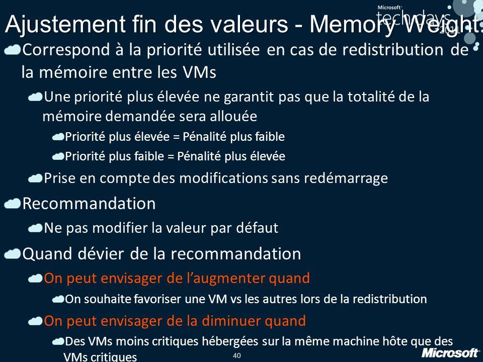 40 Ajustement fin des valeurs - Memory Weight Correspond à la priorité utilisée en cas de redistribution de la mémoire entre les VMs Une priorité plus