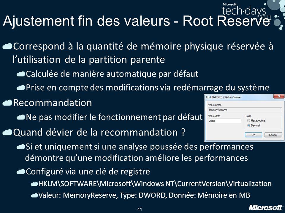41 Ajustement fin des valeurs - Root Reserve Correspond à la quantité de mémoire physique réservée à lutilisation de la partition parente Calculée de