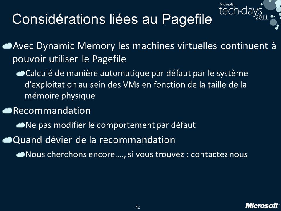 42 Considérations liées au Pagefile Avec Dynamic Memory les machines virtuelles continuent à pouvoir utiliser le Pagefile Calculé de manière automatiq