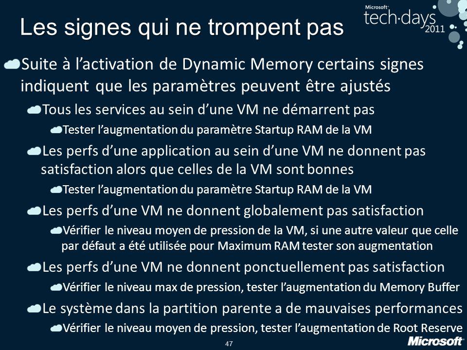 47 Les signes qui ne trompent pas Suite à lactivation de Dynamic Memory certains signes indiquent que les paramètres peuvent être ajustés Tous les ser