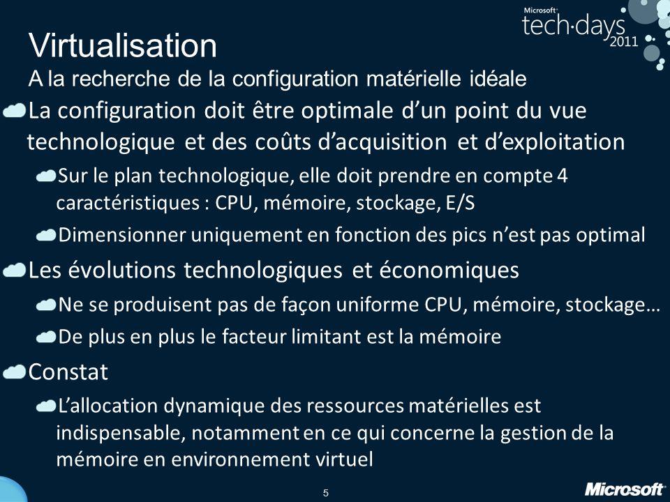 5 Virtualisation A la recherche de la configuration matérielle idéale La configuration doit être optimale dun point du vue technologique et des coûts